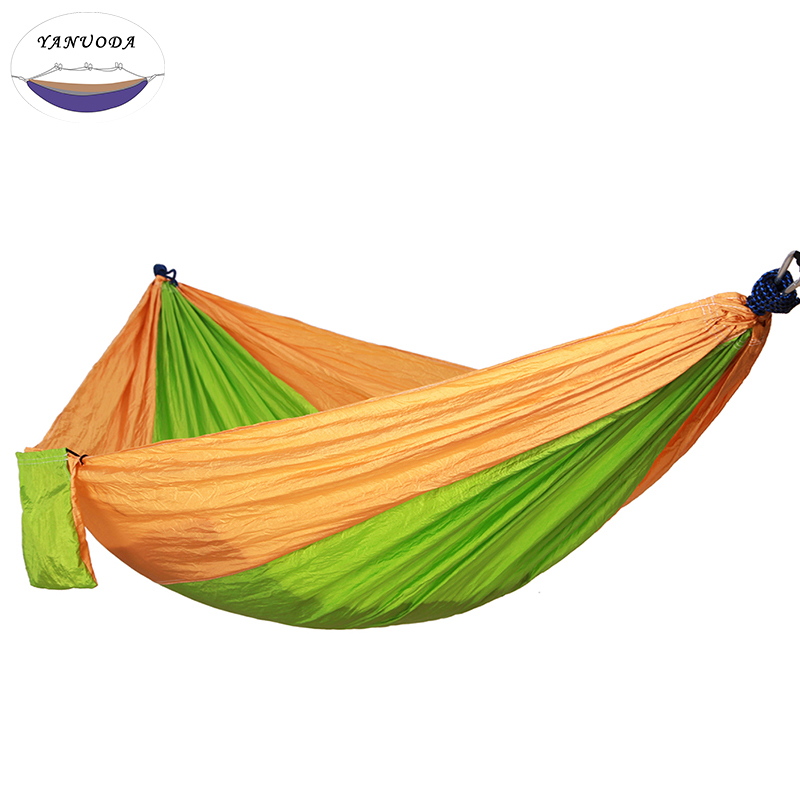Camping Hammock, Portable Parachute Nylon Fabric Travel Ultralight Camping Double Wide Outdoor Travel(Yellow+Fruit green) aotu at6716 parachute nylon fabric double hammock neon green
