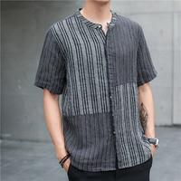 2019 New Japan Style Summer Linen Short Sleeved Shirt Men Striped Patchwork Collarless Lightweight Black White Casual Blouse Man