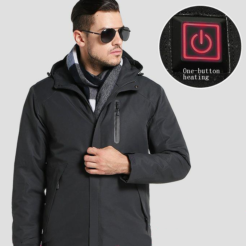 Image 4 - Men's Winter Outdoor Intelligent USB Work Hooded Heating Jacket Coats Adjustable Temperature Control Safety Clothing DSY0012-in Safety Clothing from Security & Protection