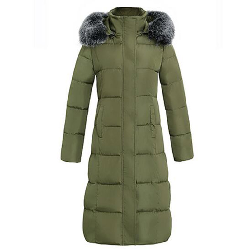 Winter Women Outwear Long Hooded Cotton Coat Faux Fur Collar Plus Size Parkas Wadded Slim Jacket Warm Padded Cotton Coats PW0997 jolintsai winter coat jacket women warm fur hooded woman parkas winter overcoat casual long cotton wadded lady coats