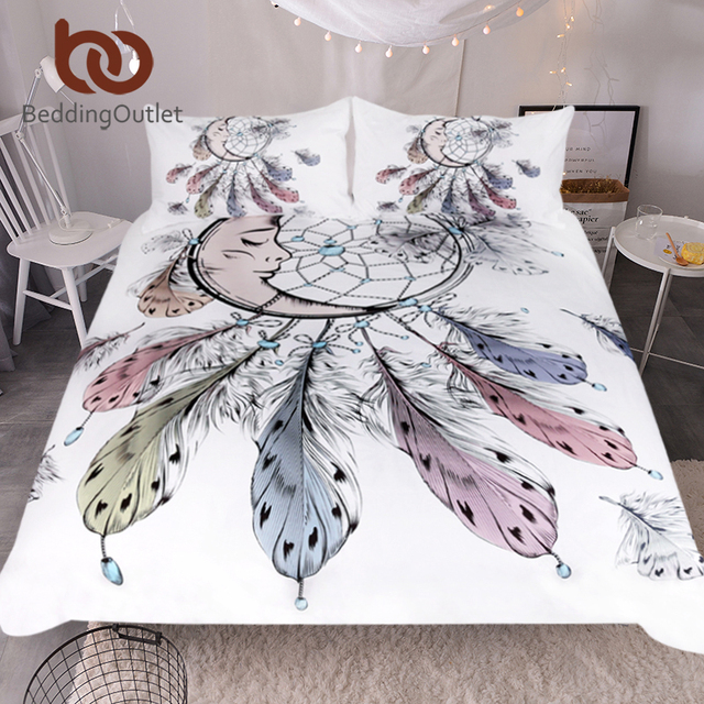 BeddingOutlet Luna Dreamcatcher Set di Biancheria Da Letto Queen Formato Piume C