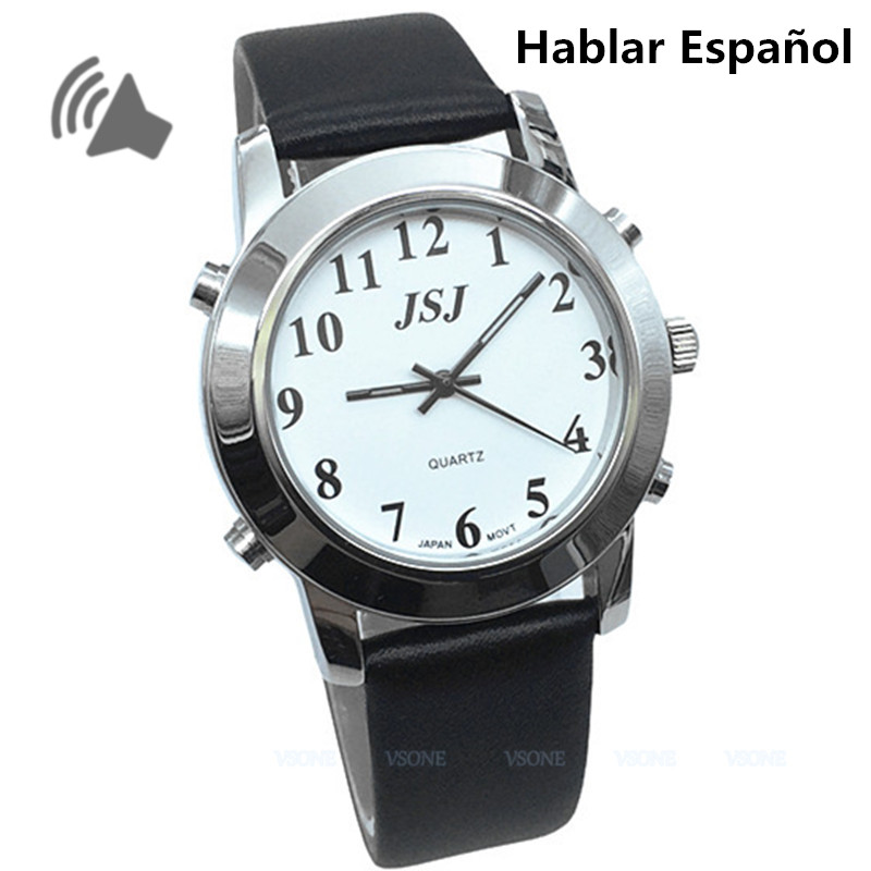 Spanish Talking Watch with Alarm, Leather Strap, for Blind People or Visually Impaired People or Elderly