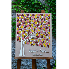 Personalized Rustic 3D Wedding Guest Book Tree, Unique Guestbook With Hearts,Love Birds Guestbook,Custom Alternative Books