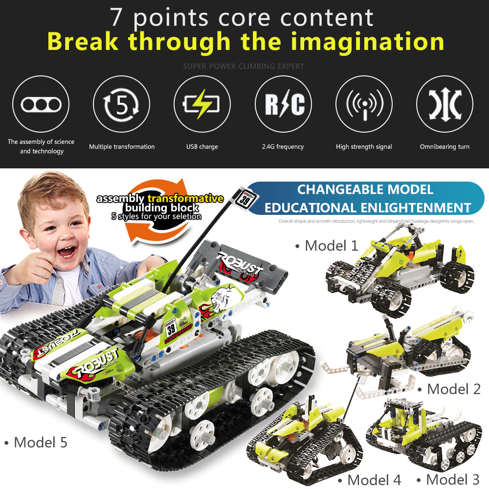 Remote Control Car DIY Kit 120 in 1 Race Building Bricks Racing Tank Toys RC Tank Radio-controlled Cars toys for children microgear radio controlled rc grasshopper flying in the air