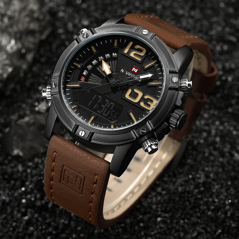 Image 5 - NAVIFORCE Men's Fashion Sport Watches Men Quartz Analog Date Clock Man Leather Military Waterproof Watch Relogio Masculino 2019-in Quartz Watches from Watches