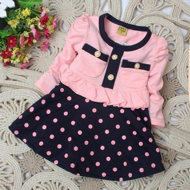 Entrega rápida Nuevo 2015 ropa de los niños del vestido de la muchacha del niño patchwork y dot bebé vestido ocasional Ropa de Bebé