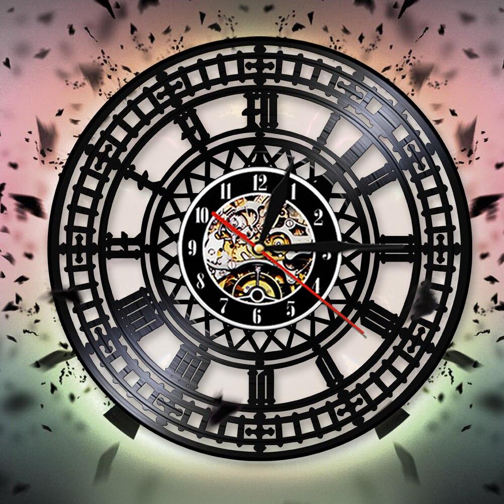 Scandinavian Viking Vinyl Record Wall Clock Nordic Runes Viking Wall Art Decor Decorative Clocks Home Garden