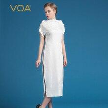 VOA 2017 Summer Heavy Silk Fashion White Office Pencil Dress Jacquard Elegant Slash Neck Plus Size Slim Women Dress AZX00201