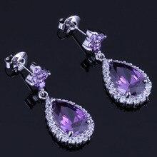 Unusual Water Drop Purple Cubic Zirconia White CZ 925 Sterling Silver Drop Dangle Earrings For Women V0745 unusual water drop green cubic zirconia 925 sterling silver drop dangle earrings for women v0838