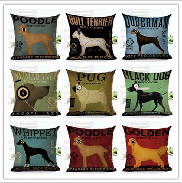 Whole Fashion Animal Creative Dog In Listening To Music Decorative Pillow Cases Throw Covers Home Cushion