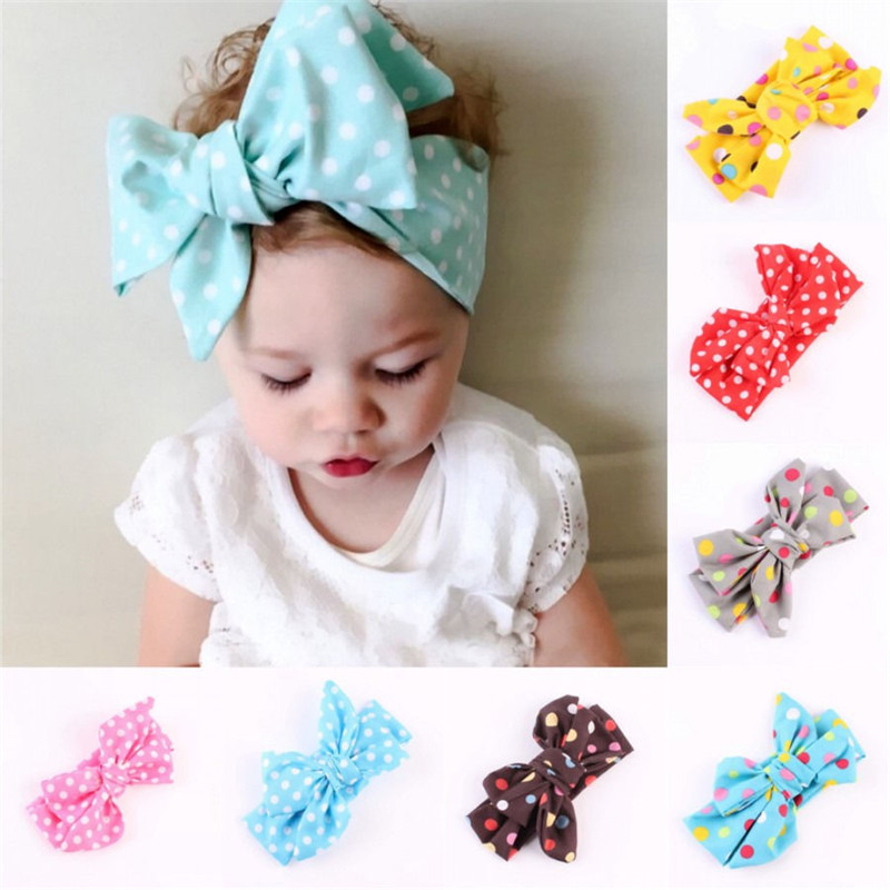 Sweet 7 Colors Dot Large Hair Headband Bows Wrap Kawaii Accessories For Baby Girl Turban Knot Headband Hair Ornaments Headwear