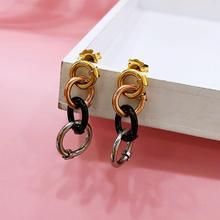 Brand Bear Simple Fashion Gold Geometric Round Earrings For Women Big Hollow Drop Jewelry