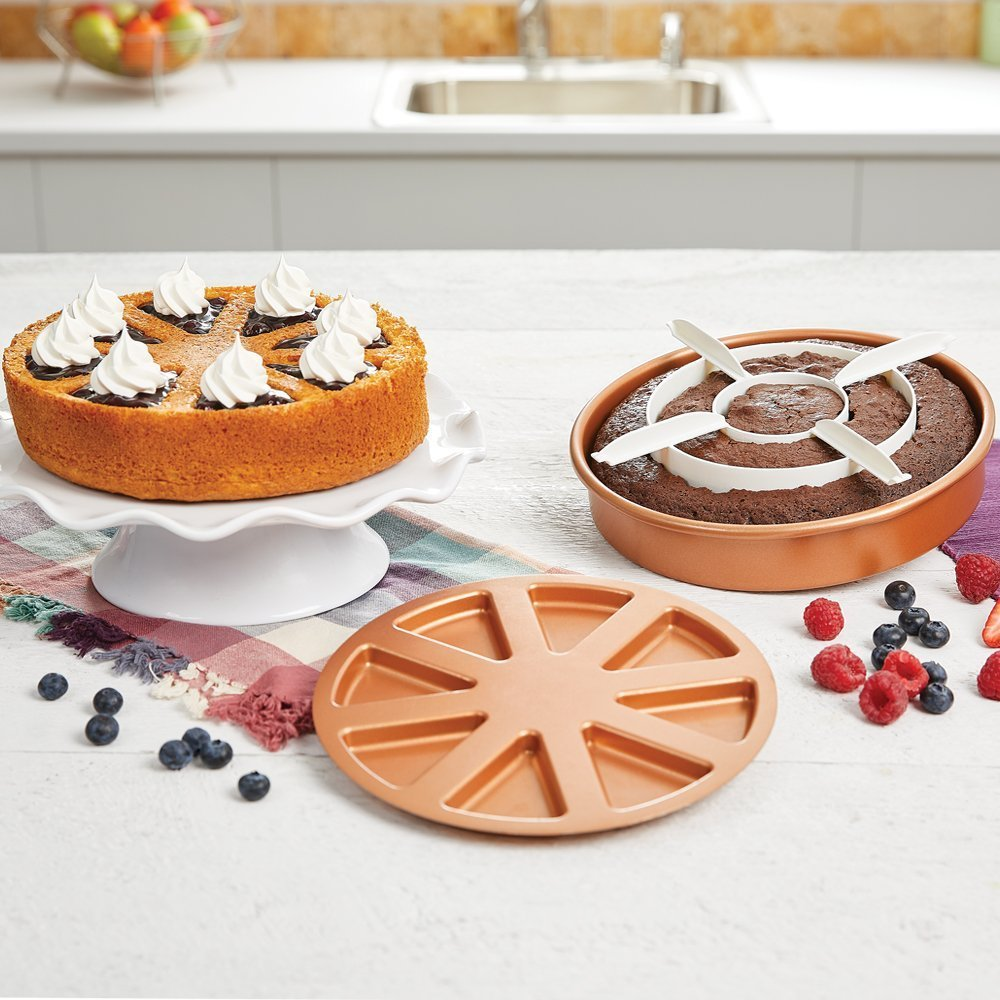 3pcs/Set 9'' Cake Mold Copper Pan Chef Perfect Baking Cake Pan Magic Middle Pockets Cutters Baking Kitchen Tools DIY