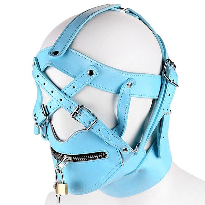 Голова Кожа жгут полиуретановая маска капюшон рот Даг БДСМ костюм фетиш бондаж регулируемый - Цвет: PG0184