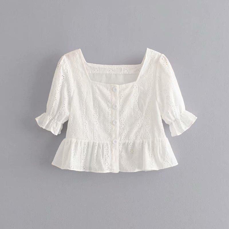 Fashion Women Ida 40-6223 European and American fashion hollow embroidery jacket