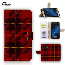 Case For Samsung Galaxy A5 2016 Luxury PU Leather Wallet Card Holder Flip Case Cover Tartan Design printed Cellphone Casse