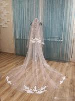2019 Bridal Veils Lace Appliques Two Layers Wedding Veils 3D Flowers Bridal Hair Accessories 3 Meters Headpieces Custom Made