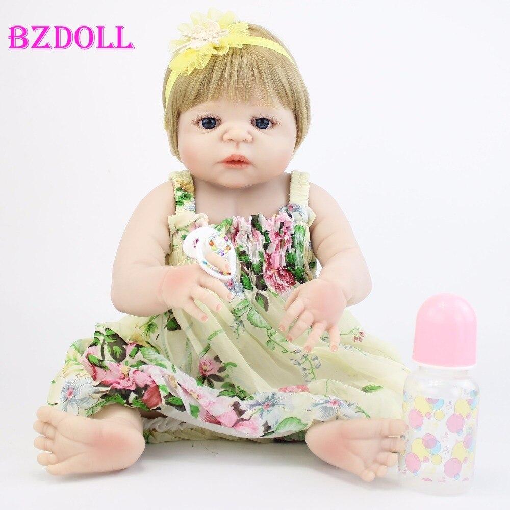 Muñeca Reborn de silicona de cuerpo entero de 55cm para niños, juguete de vinilo realista para recién nacidos, muñecas para bebés, para bañarse