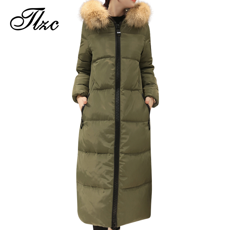 TLZC Hooded Design Women Coats Size S-2XL 2017 New Fashion Lady Warm Parkas Fit Winter Black / Green / Gray Color Woman Parkas 2017 new fashion women long cotton coats size s 2xl hooded collar warm parkas winter black navy green color woman parkas qh0449