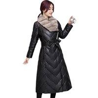 Зимние Для женщин искусственная Кожаная куртка с меховой воротник Роскошные пальто из искусственного меха куртки длинные черные Кожаная к