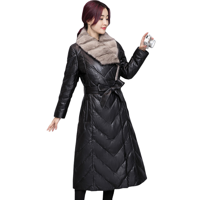 Winter Women Faux   Leather   Jacket With Fur Collar Luxury Faux Fur Coats Jackets Long Black   Leather   jacket women Plus Size coats