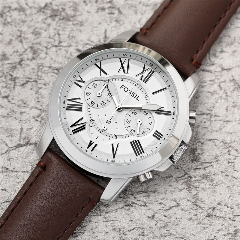 FOSSIL Mens Watch Fashion Brand Quartz Wristwatch Mens Chronograph Sports Watches with Leather Strap