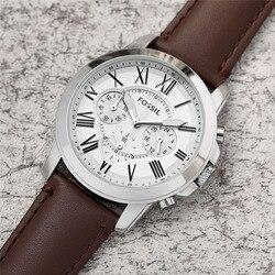 FOSSIL мужские часы модный бренд кварцевые наручные часы Мужские Хронограф Спортивные часы с кожаным ремешком