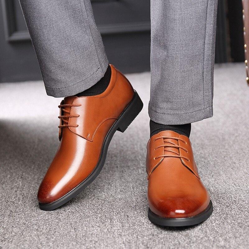 Height Increasing 6CM Elevator Wedding Shoes Men Genuine Leather Oxfords Elegant Men Formal Dress Shoes 2019 Bridegroom Shoes in Formal Shoes from Shoes