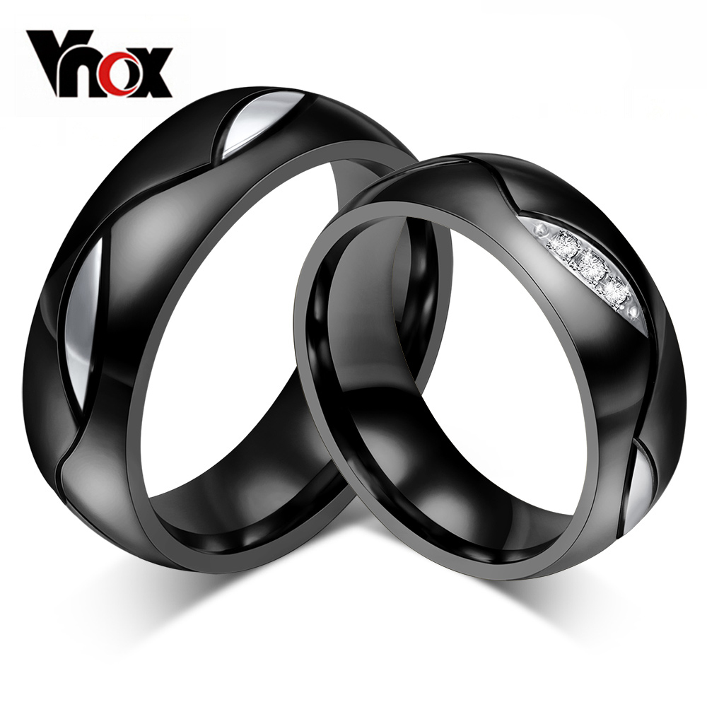 Vnox Black Wedding Ring for Lover CZ Couple Ring