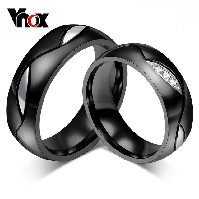Vnox Black Wedding Ring for Lover CZ Couple Ring 316l Stainless Steel Engagement