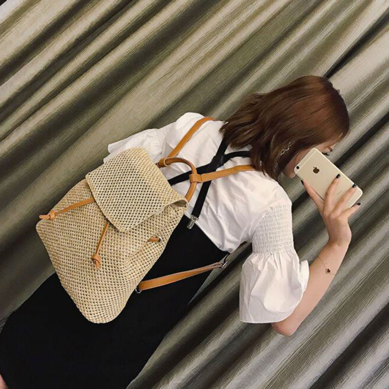 Woven Female Backpack New Collection Korean Style College Style All match schoolbag Harbor Style Fashionable Indivual