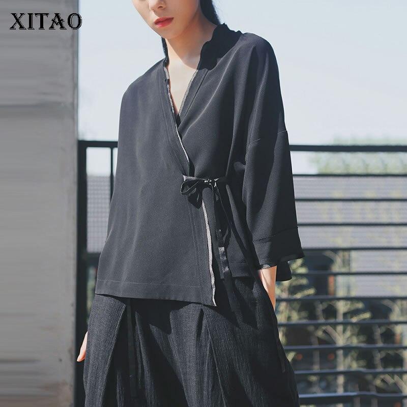 XITAO chinois dentelle crème solaire chemise à l'extérieur tempérament Top femmes vêtements 2019 automne Vintage cru bord conception Blouse ZLL4084