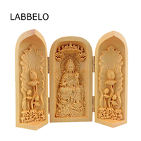Dropship Chinese carved Buddha box wholesale boxwood carving Buddha three box wood crafts ornaments Home ornaments home decor