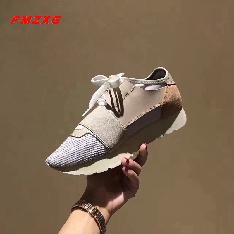 FMZXG Women Flats Sneakers Shoes Wedge Fashion Platform Mesh (Air mesh) Genuine Leather Spring/Autumn Woman Casual Lovers Shoes