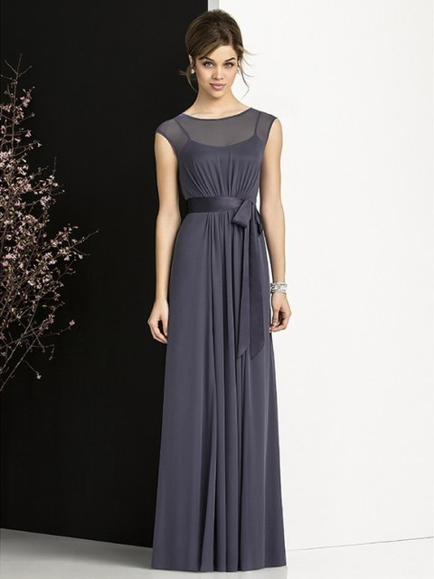 Modest Chiffon Gray Bridesmaid Dresses Long Covered Back Simple ...