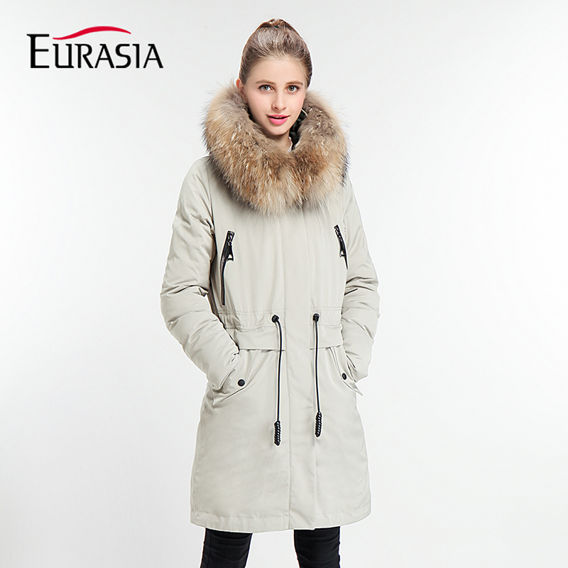 EURASIA 2017 New Full Real Fur Collar Hooded Women Winter   Parka   Style Jackets High-quality Biological-Down   Parkas   Coats Y170032