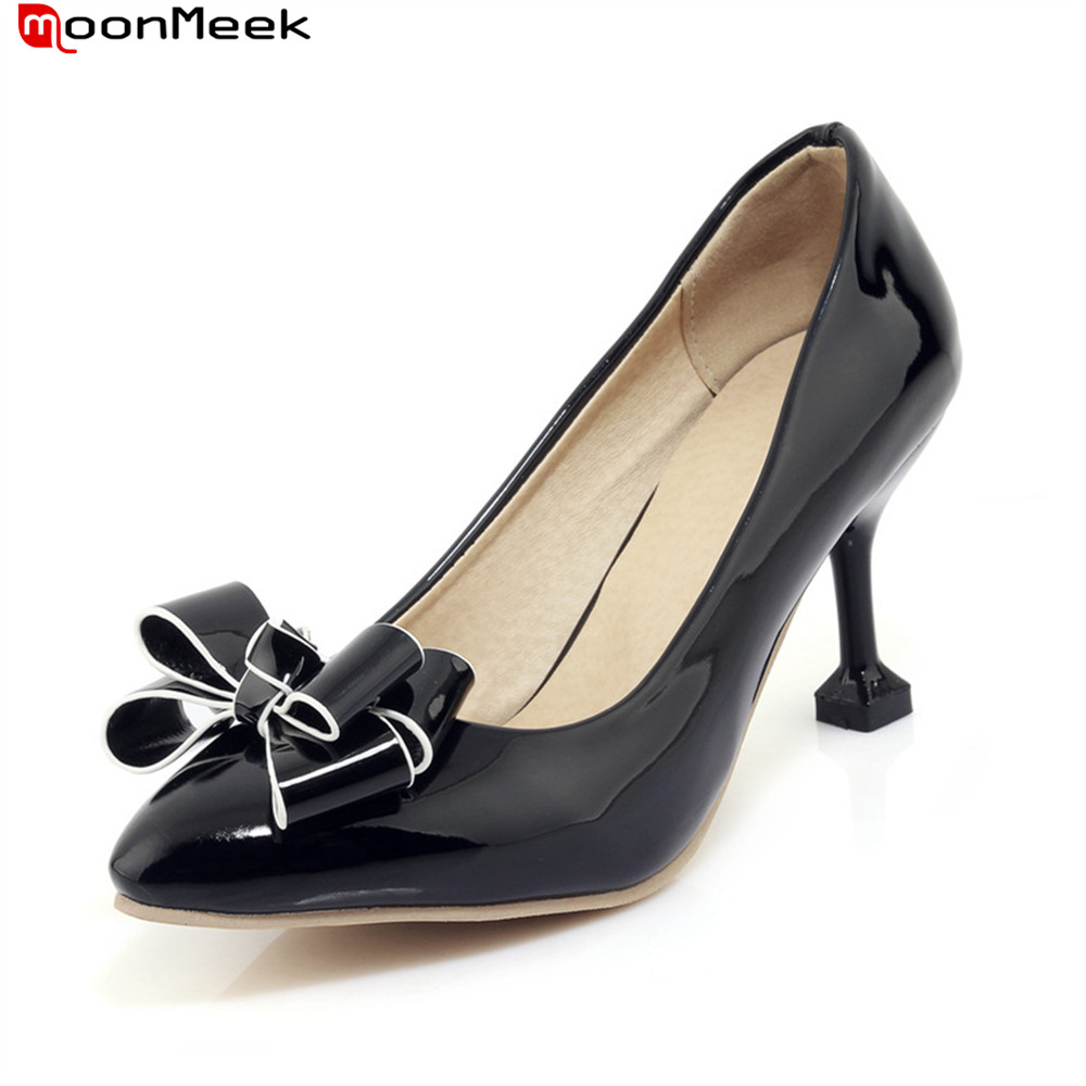 MoonMeek 2018 sweet female pumps high heels pointed toe strange style heel with butterfly knot women party wedding shoes moonmeek new arrive spring summer female pumps high heels pointed toe thin heel shallow party wedding flock pumps women shoes