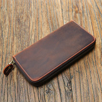 Men Wallets Card Holder Real Cow Genuine Leather Wallet Luxury Long Design Quality Passport Fashion Casual Purse Zipper Hand Bag