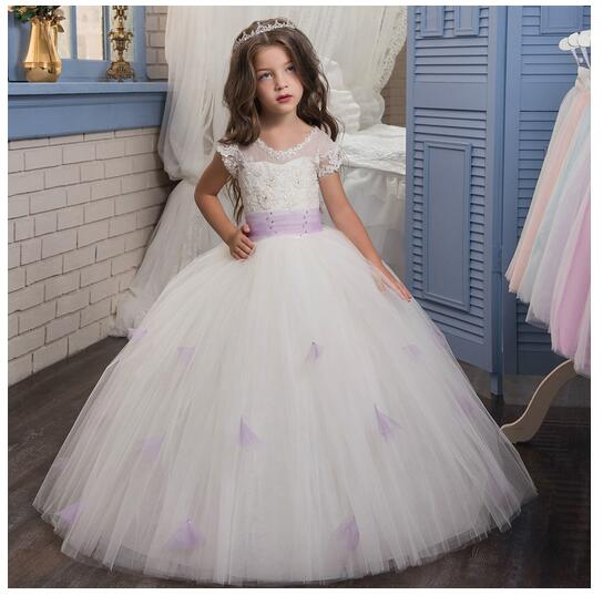 Girl's Long Formal Dresses 2017 Sleeveless Girls Princess Dresses Kids Lace Diamond Gauze Party Gowns Children's Wedding Dress long criss cross open back formal party dress