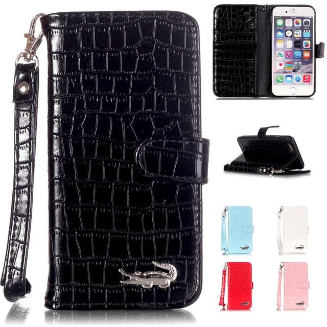best loved 6ec5f 064d0 Luxury Crocodile Skin Alligator Wallet Flip Leather Brand Case For Apple  Iphone 5 5s 6 6s 6plus 6s Plus 7 7plus 7 8 Plus Cover