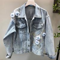 Fashion 2018 Autumn Women Denim Jacket Floral Embroidered loose Denim Jacket Long Sleeve Jeans Jacket Coat