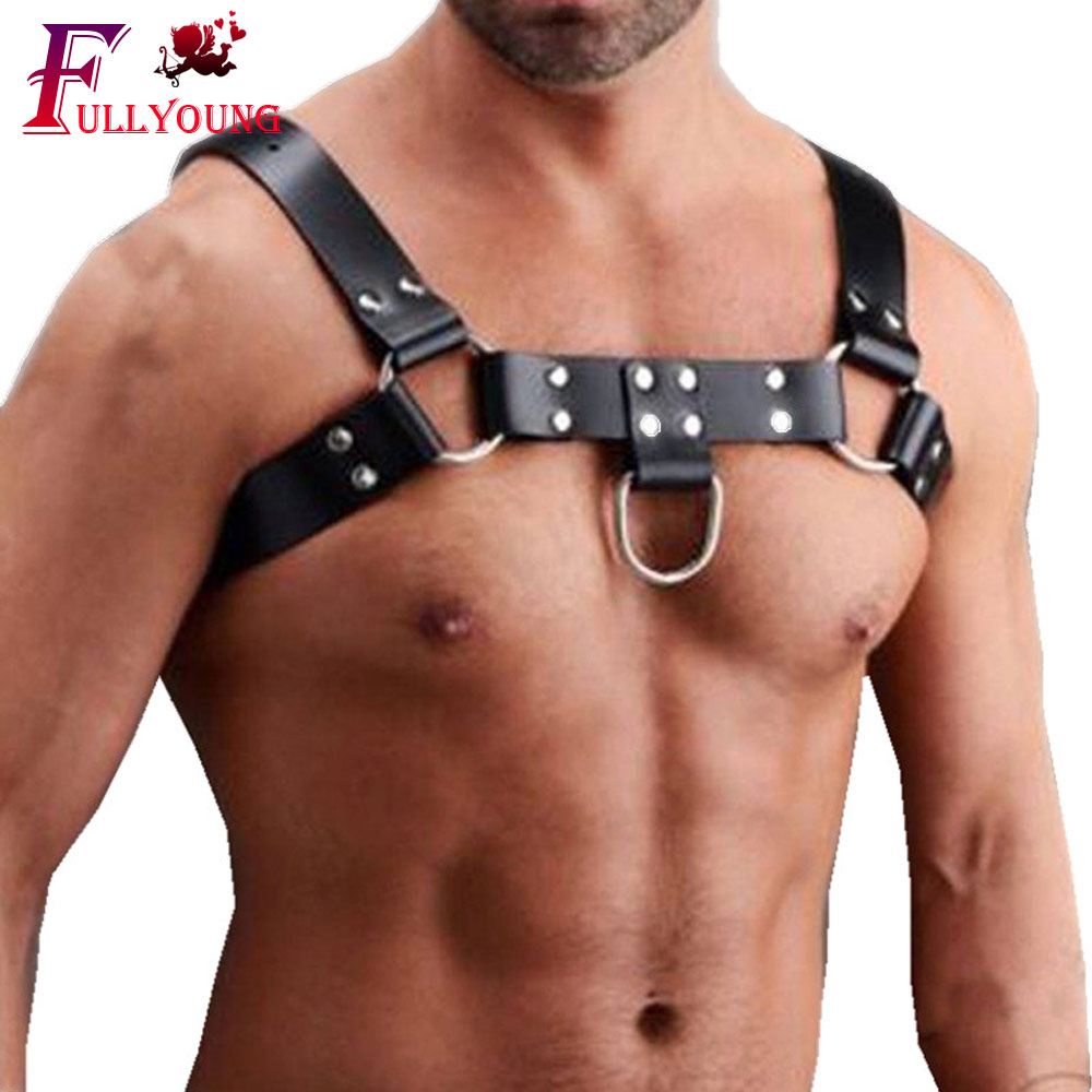 Fullyoung Genuine PU Men's Sexy Bondage Restraints Leather Belt Chest Straps Harness Gay Buckles Fetish Clubwear Toys For Man