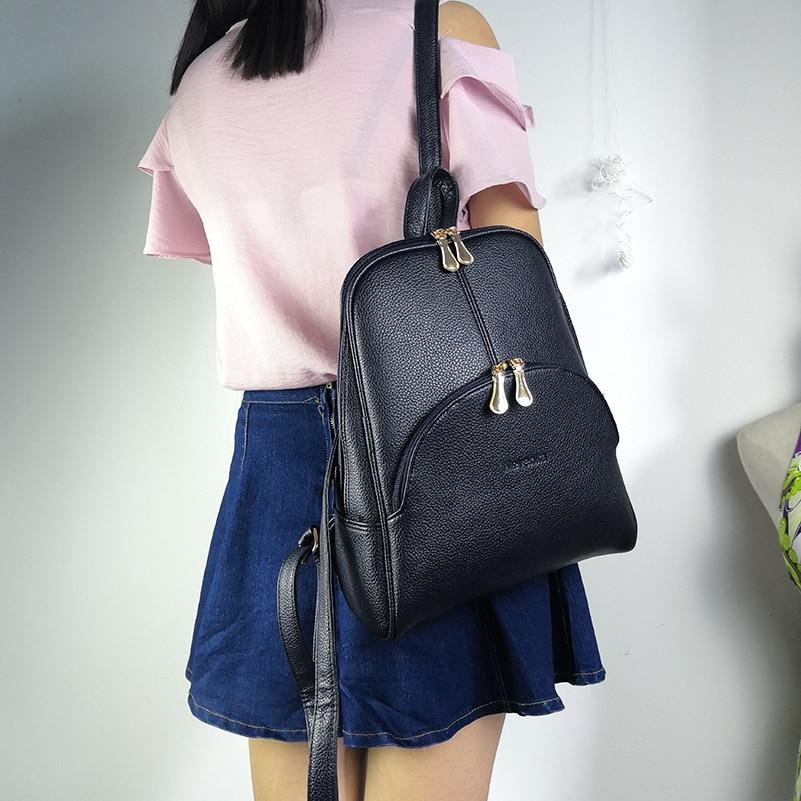 Nevenka Leather Backpack Women Solid Backpacks Light Weight Bag Cute Top Handle Backpacks for Girls Mini Backpack Female Bagpack