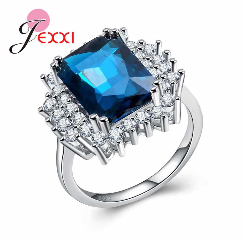 JEXXI Princess Blue Created CZ Crystal 925 Sterling Silver Wedding Finger Rings For Women Crystal Ring Brand Jewelry for Ladies