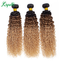 Mongolian Kinky Curly Human Hair Bundles Ombre Hair Extension 1b/30/27 Dark Root Blonde Non Remy Human Hair Weave 3/4 Bundles стоимость