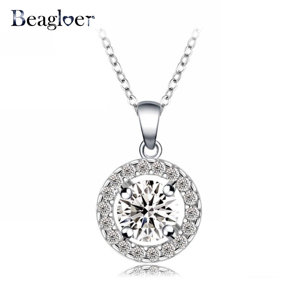 Bridal classics necklace sets mj 259 - Beagloer Costume Jewelry Necklace Hearts Arrows Cut 0 6 Carat Round Pendant Necklace Cnl0006 B
