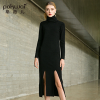 POKWAI осеннее женское 2018 новое платье с длинным рукавом с высоким воротником асимметричное платье с разрезом вилка свитер платье вязаное пла