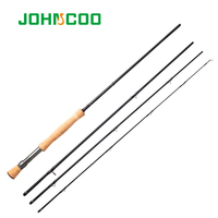JOHNCOO High Carbon Fly Fishing Rod 2.7m 4 Sections Spinning Fishing Rod 5/6 7/8 Soft Cork Handle Fishing Rod for Carp Rod