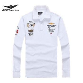 Nuevos modelos aeronáutica militara camisa masculina polo hombre manga larga Polo marcas Air force one shark solid polo Z