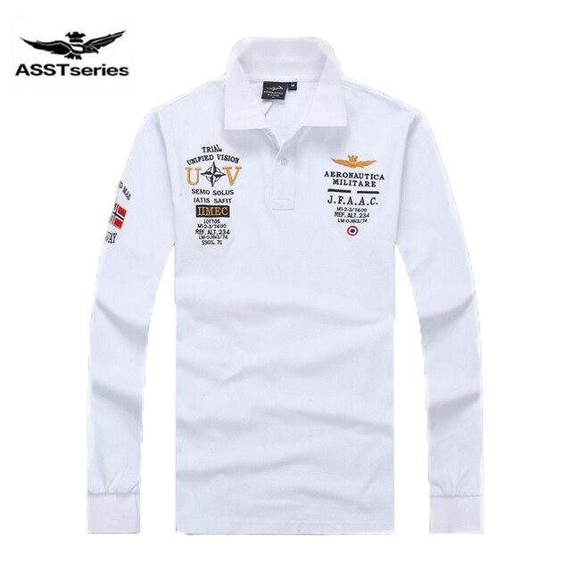 Nuevos modelos aeronáutica militara camisa masculina polo hombre manga  larga Polo marcas Air force one shark 7053ce306f1b8